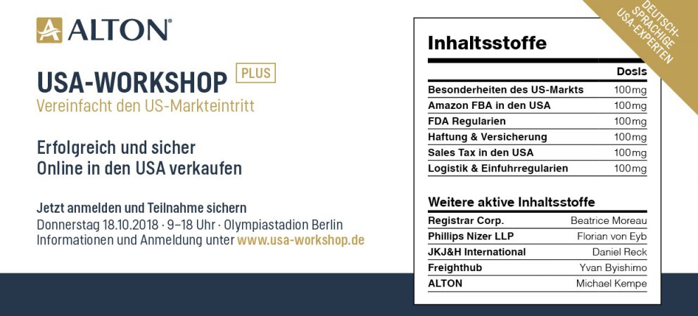 USA-Workshop für Onlinehändler am 18. Oktober 2018 in Berlin